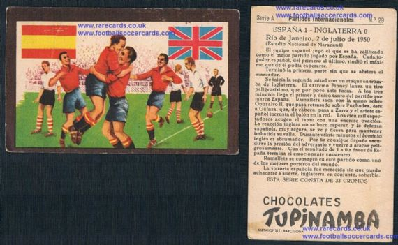 1950s Spanish Tupinamba trade card England v Spain Gainza Zarra named on the card